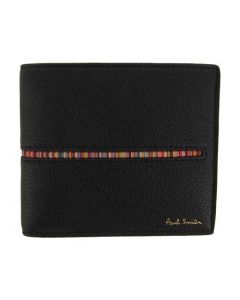 This Paul Smith men's wallet is made from a black textured leather.