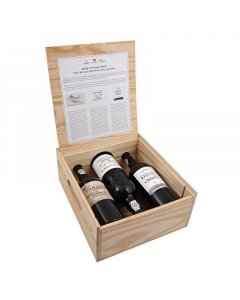 The three bottles of vintage 2008 port come presented inside a wooden presentation box.