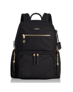 The TUMI black nylon and gold hardware Carson backpack in the Voyageur collection.