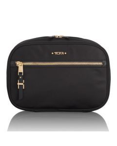 The TUMI black nylon Yima cosmetic case in the Voyageur collection.
