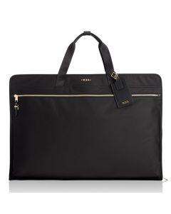 The TUMI black nylon Odessa garment bag in the Voyageur collection.