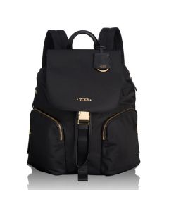 The TUMI black nylon Rivas backpack in the Voyageur collection.