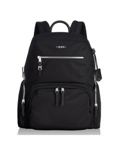The TUMI black nylon and silver hardware Carson backpack in the Voyageur collection.
