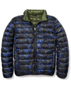 This is the TUMI Men's Reversible Camo Print/Forest Puffer Jacket.