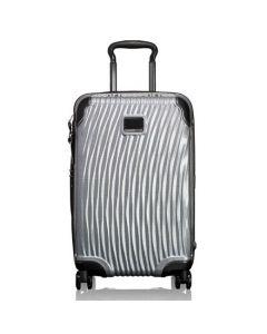 The TUMI black Latitude polypropylene international slim carry on case.