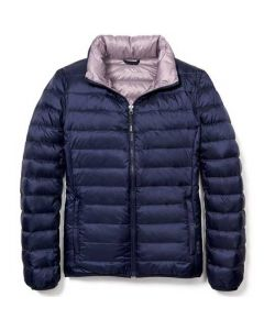 This is the TUMI Women's Reversible Navy/Lavender Clairmont Puffer Jacket.