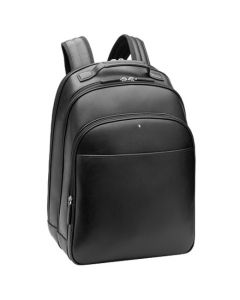 Angled view of the Montblanc Sartorial black backpack showing the side and front.
