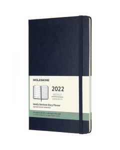 This is the Moleskine A5 12-Month Hard Cover Sapphire Blue 2022 Weekly Planner.