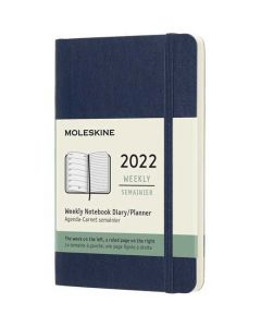 This is the Moleskine Pocket 12-Month Soft Cover Sapphire Blue 2022 Weekly Planner.