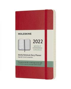 This is the Moleskine Pocket 12-Month Soft Cover Scarlet Red 2022 Weekly Planner.
