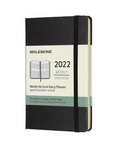 This is the Moleskine Pocket 12-Month Hard Cover Black 2022 Vertical Weekly Planner.
