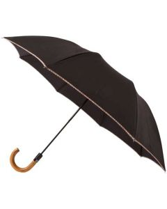 This is the Paul Smith Compact Umbrella in Black with 'Signature Stripe' Trim.