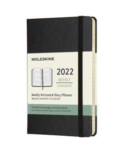 This is the Moleskine Pocket 12-Month Hard Cover Black 2022 Horizontal Weekly Planner.