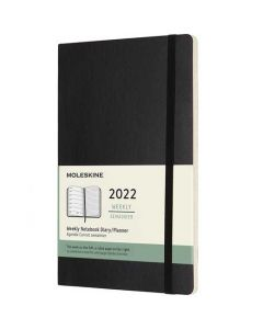 This is the Moleskine A5 12-Month Soft Cover Black 2022 Weekly Planner.