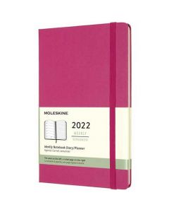 This is the Moleskine A5 12-Month Hard Cover Pink 2022 Weekly Planner.