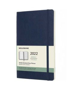 This is the Moleskine A5 12-Month Soft Cover Sapphire Blue 2022 Weekly Planner.