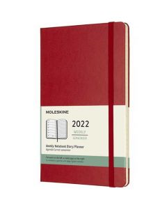 This is the Moleskine A5 12-Month Hard Cover Scarlet Red 2022 Weekly Planner.