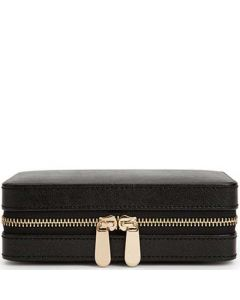 This is the WOLF Black Palermo Zip Jewellery Case.