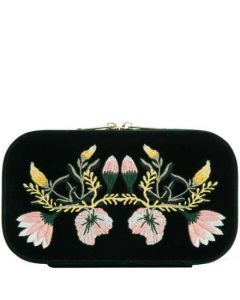This is the WOLF Green Zoe Travel Jewellery Case.