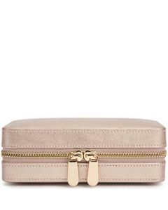 This is the WOLF Rose Gold Palermo Zip Jewellery Case.