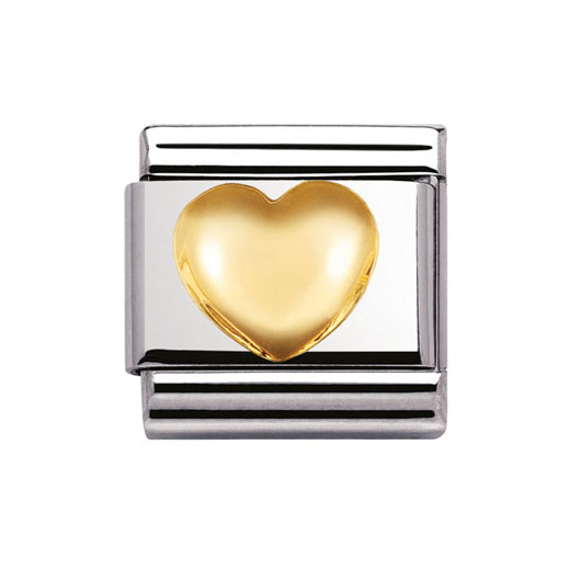 Classic Stainless Steel 18K Gold Raised Heart Love Charm