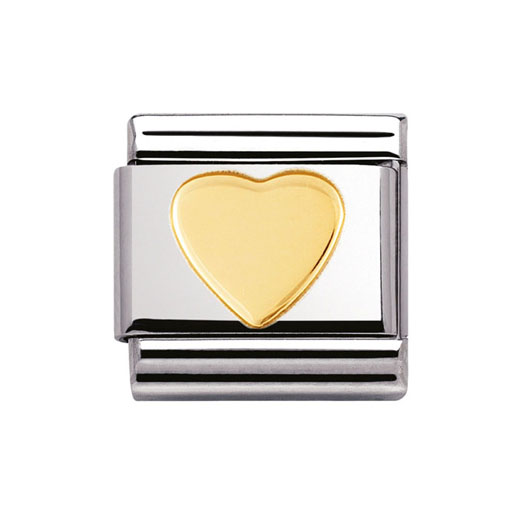 Classic Stainless Steel 18K Gold Love Heart Charm