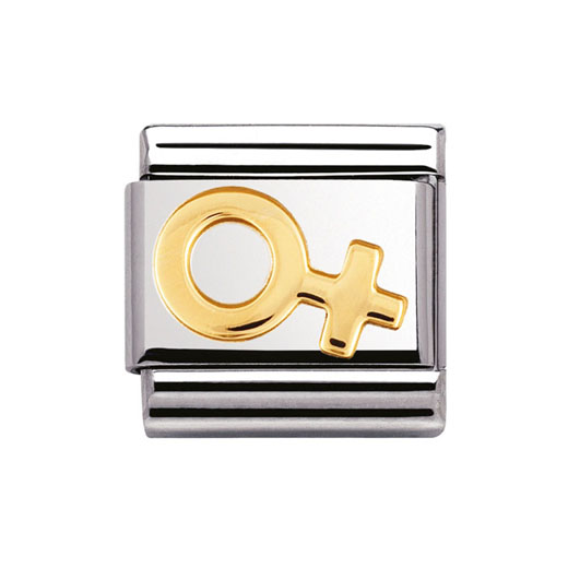 Classic Stainless Steel 18K Gold Love Female Symbol Charm