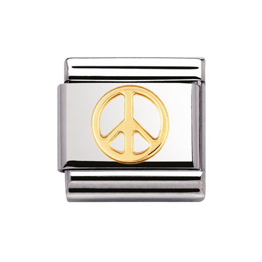 Classic Stainless Steel 18K Gold Love Peace Charm