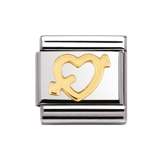 Classic Stainless Steel 18K Gold Heart with an Arrow Love Charm