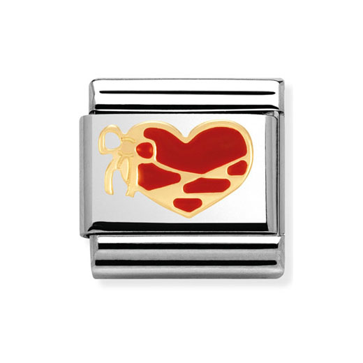 Classic Stainless Steel 18K Gold Red Enamel Heart with Ribbon Charm