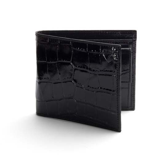 3CC Black Croc Leather Billfold Coin Wallet