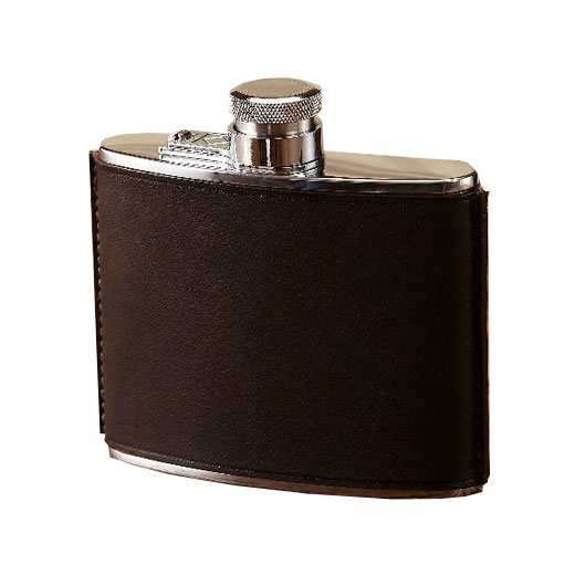 4oz Brown Hand Stitched Leather Flask