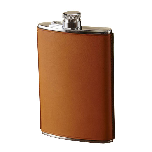 8oz Tan Hand Stitched Leather Flask