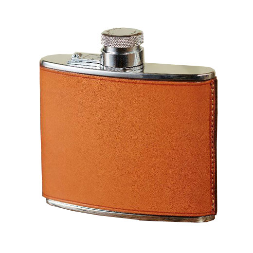 4oz Tan Hand Stitched Leather Flask