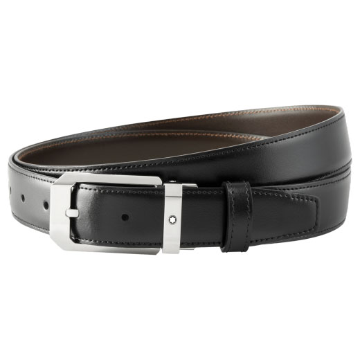 Black Smooth Leather Reversible Belt