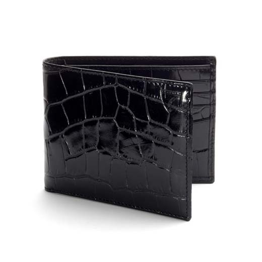 8CC Black Croc Leather Billfold Wallet