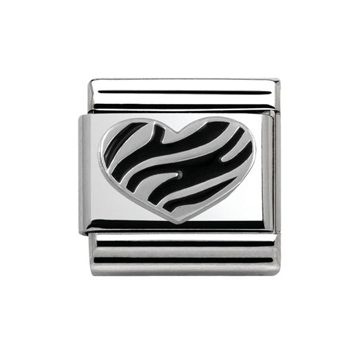 Classic Stainless Steel Sterling Silver Striped Heart Charm
