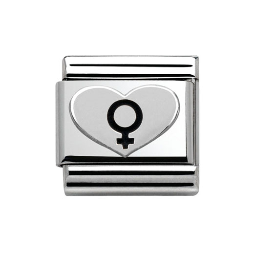 Classic Stainless Steel Sterling Silver Female Symbol Heart Charm