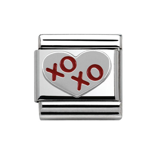 Classic Stainless Steel Sterling Silver XO Heart Charm