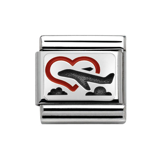 Classic Stainless Steel Sterling Silver Love Plane Charm
