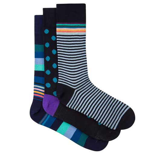 Three Pack of Navy Cotton Socks