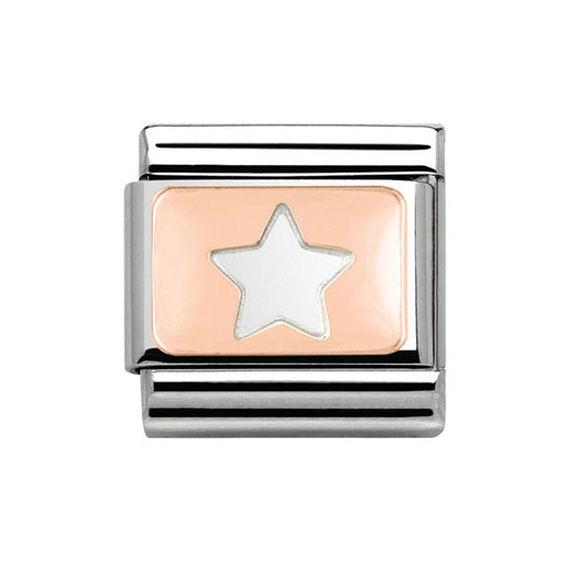 Classic Stainless Steel 9K Rose Gold Star Charm