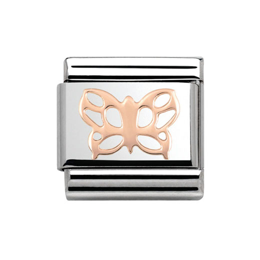 Classic Stainless Steel 9K Rose Gold Butterfly Plaque Charm