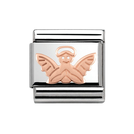 Classic Stainless Steel 9K Rose Gold Angel Plaque Charm