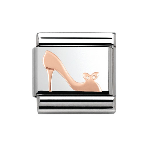 Classic Stainless Steel 9K Rose Gold Shoe Plaque Charm