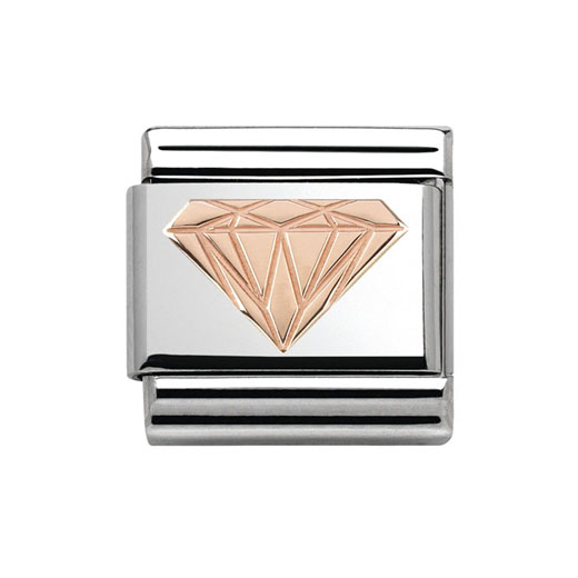 Classic Stainless Steel 9K Rose Gold Diamond Plaque Charm
