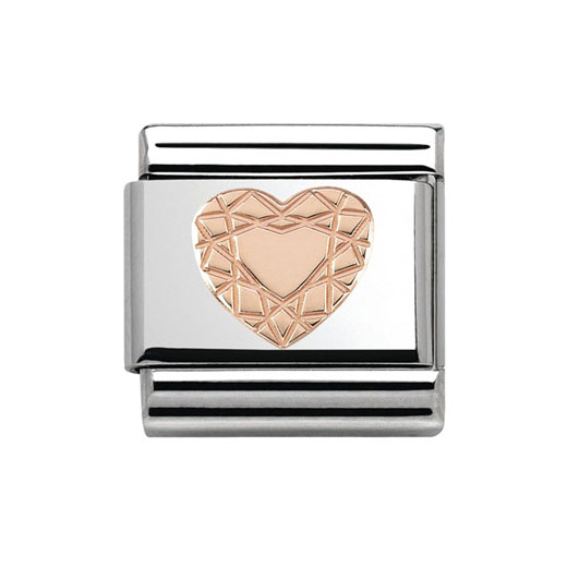 Classic Stainless Steel 9K Rose Gold Diamond Heart Plaque Charm