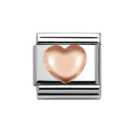 Classic Stainless Steel 9K Rose Gold Domed Heart Plaque Charm