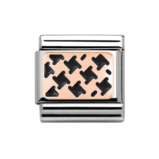 Classic Stainless Steel 9K Rose Gold Black Enamel Houndstooth Pattern Charm
