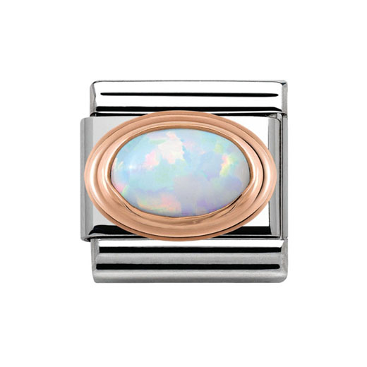 Classic Stainless Steel 9K Rose Gold White Opal Charm